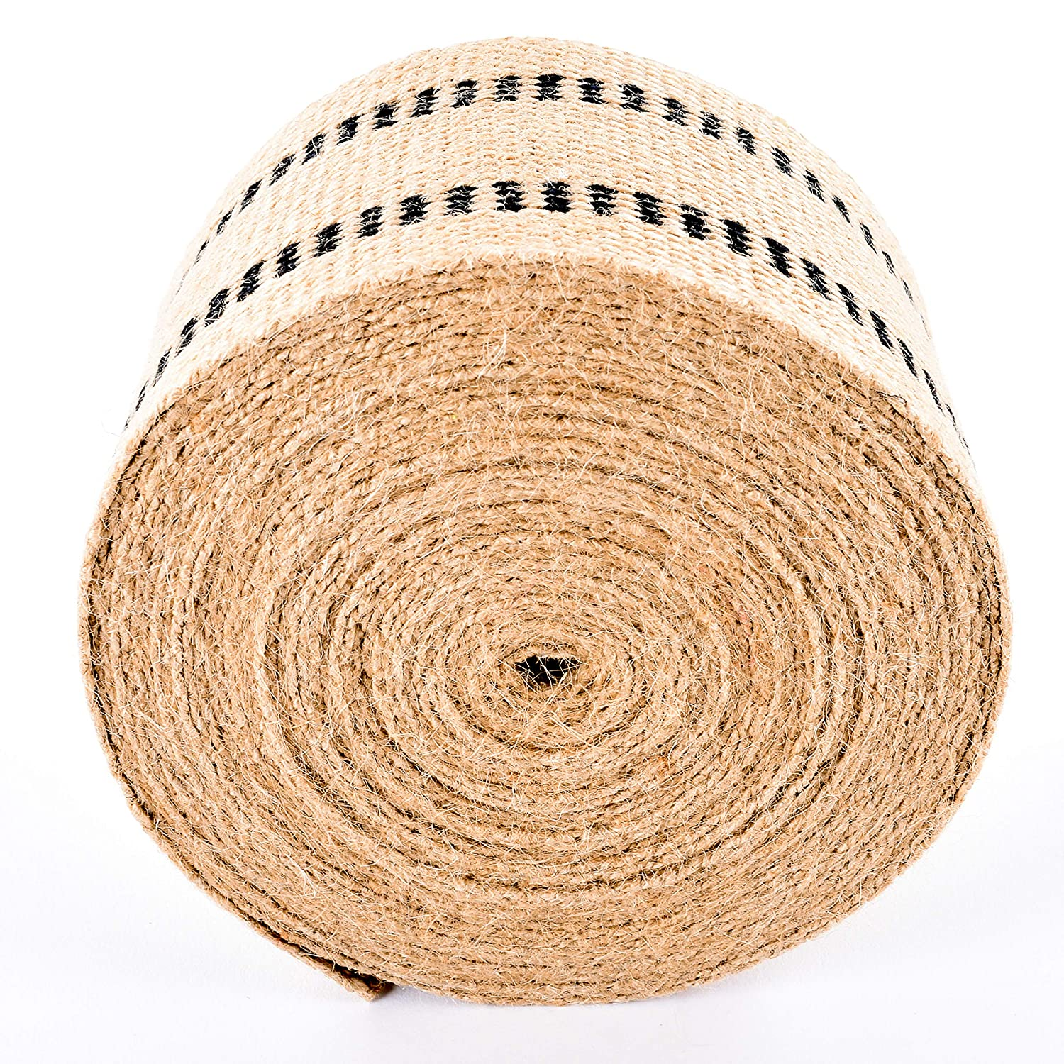Upholstery//Craft Jute Webbing Burlap 3.5 Inches X 10 Yards-Natural W//Black Stripes