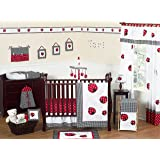 Red and White Polka Dot Ladybug Baby Girl Bedding 11pc Crib Set without bumper