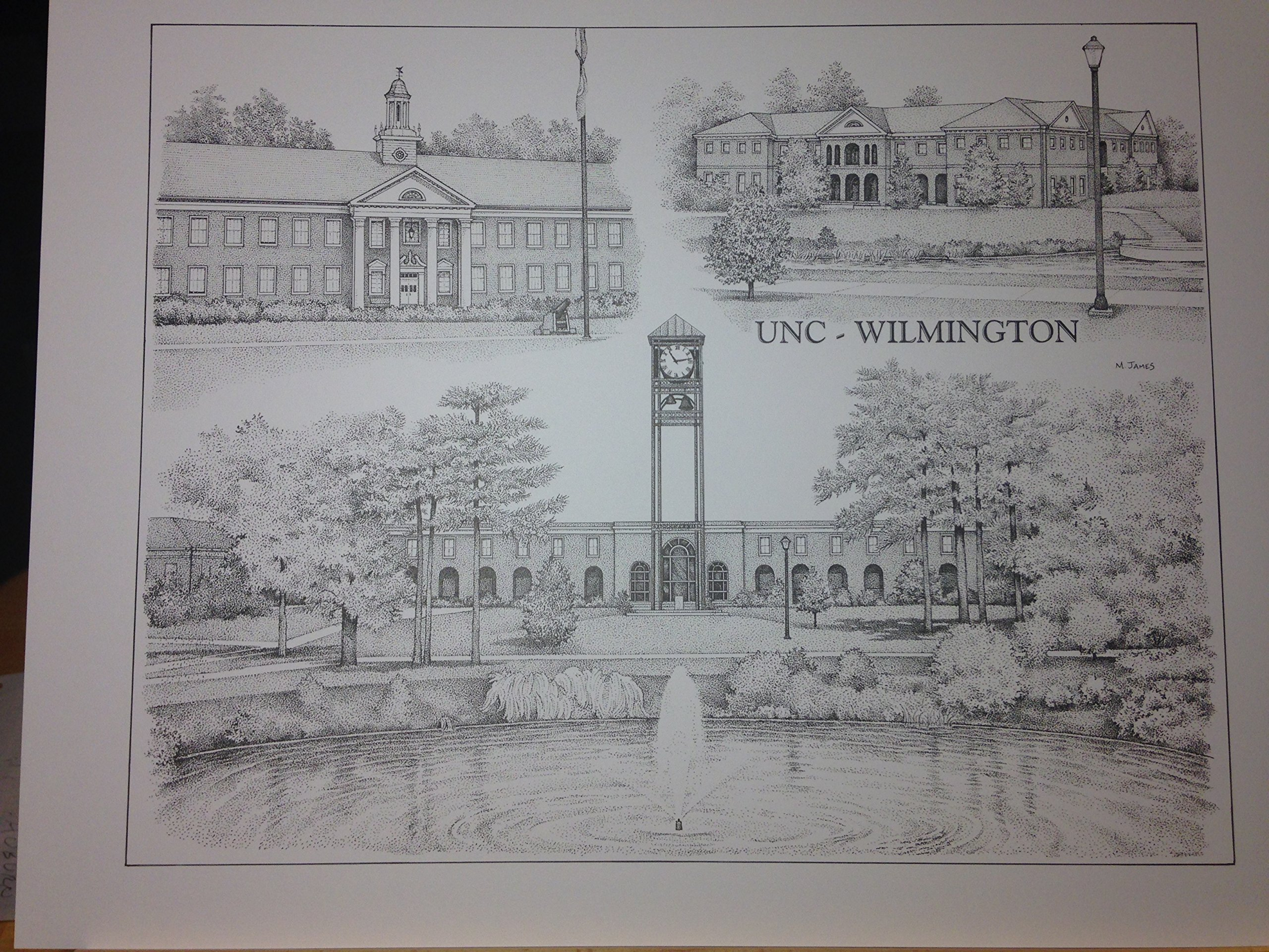 UNC-Wilmington 14''x18'' pen and ink collage print