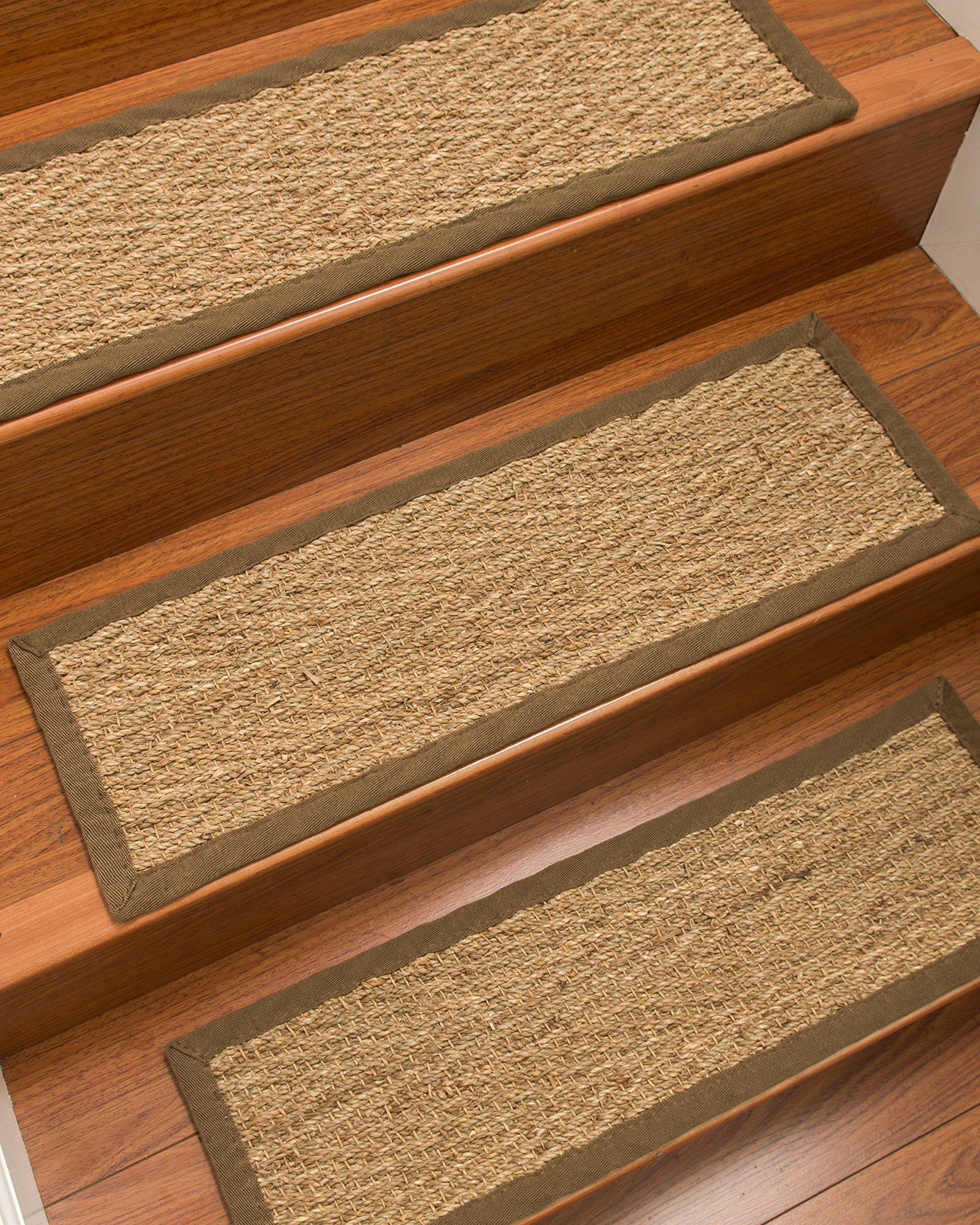 NaturalAreaRugs Handcrafted Beach Seagrass Carpet Stair Treads Beige, 9'' x 29'' Set of 13