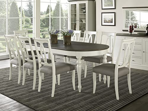 Everhome Designs – Vegas 9 Piece Oval Extension Dining Table Set for 8 Oval Back Chairs