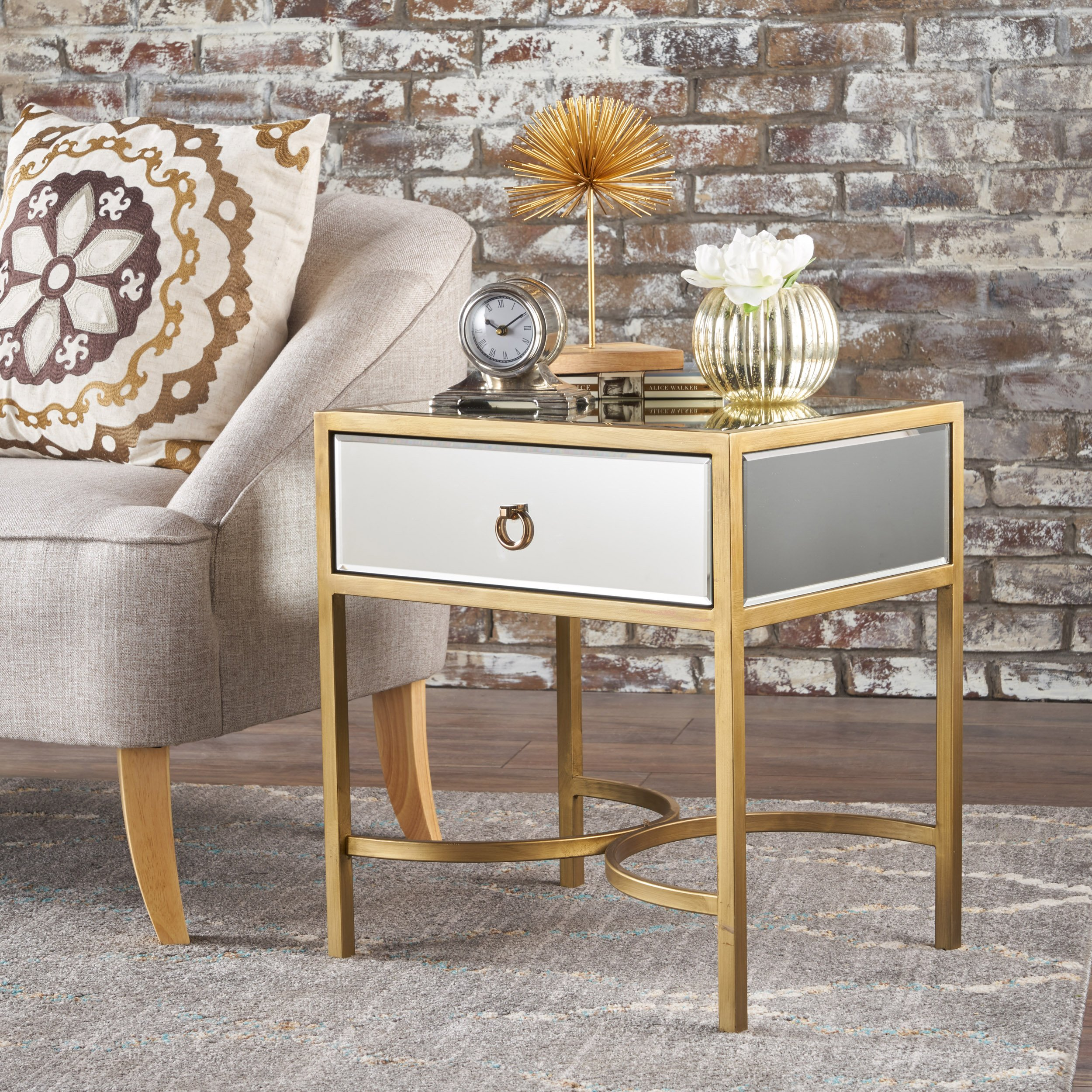 Siryen Modern Mirror Finished Side Table with Gold Iron Accents