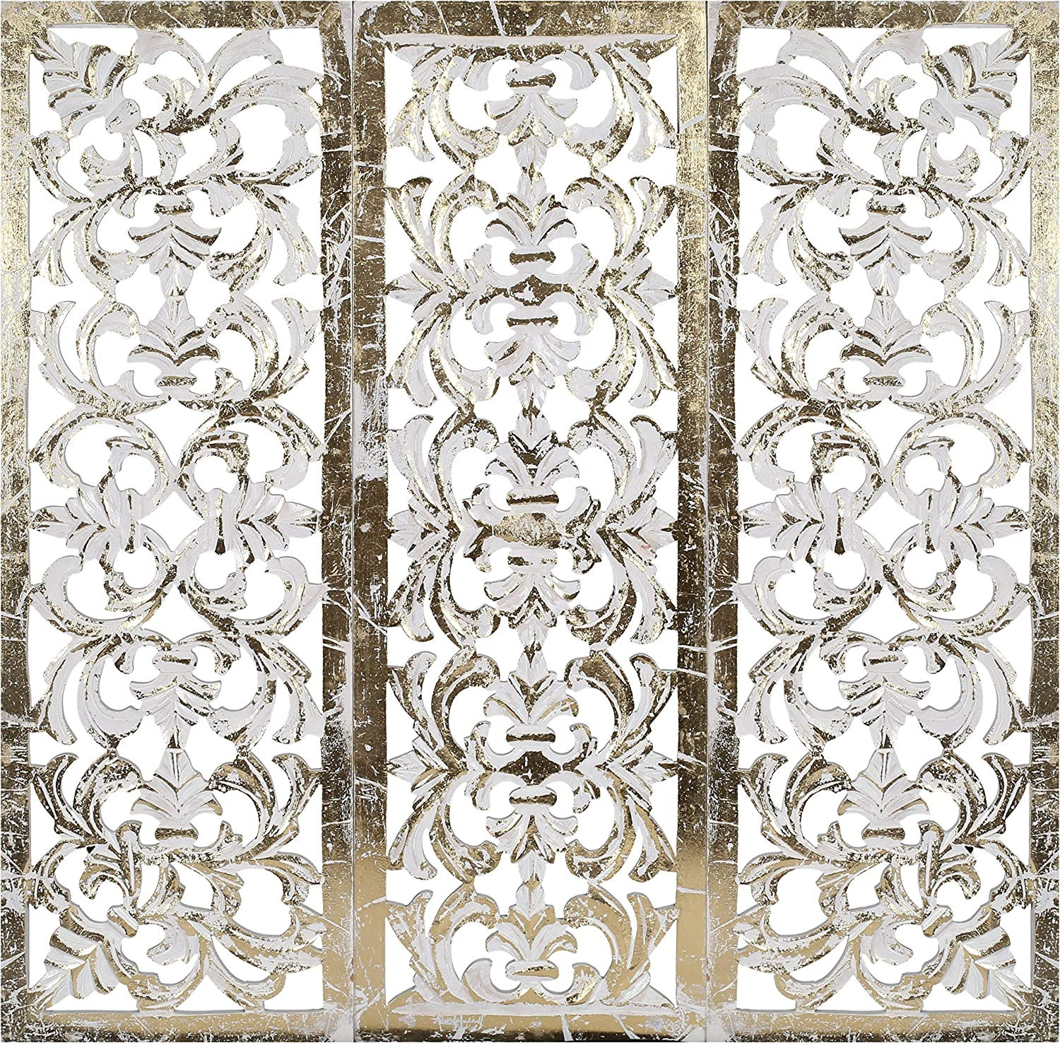 Wooden Designer Wall Hanging Plaques/Wall Plaque Wall Décor Plaques Set of 3-36x12 Inch - Foil Gold White, Elegant Sculpture Wall Décor Panel to Enhance The Décor of Your Room or Office