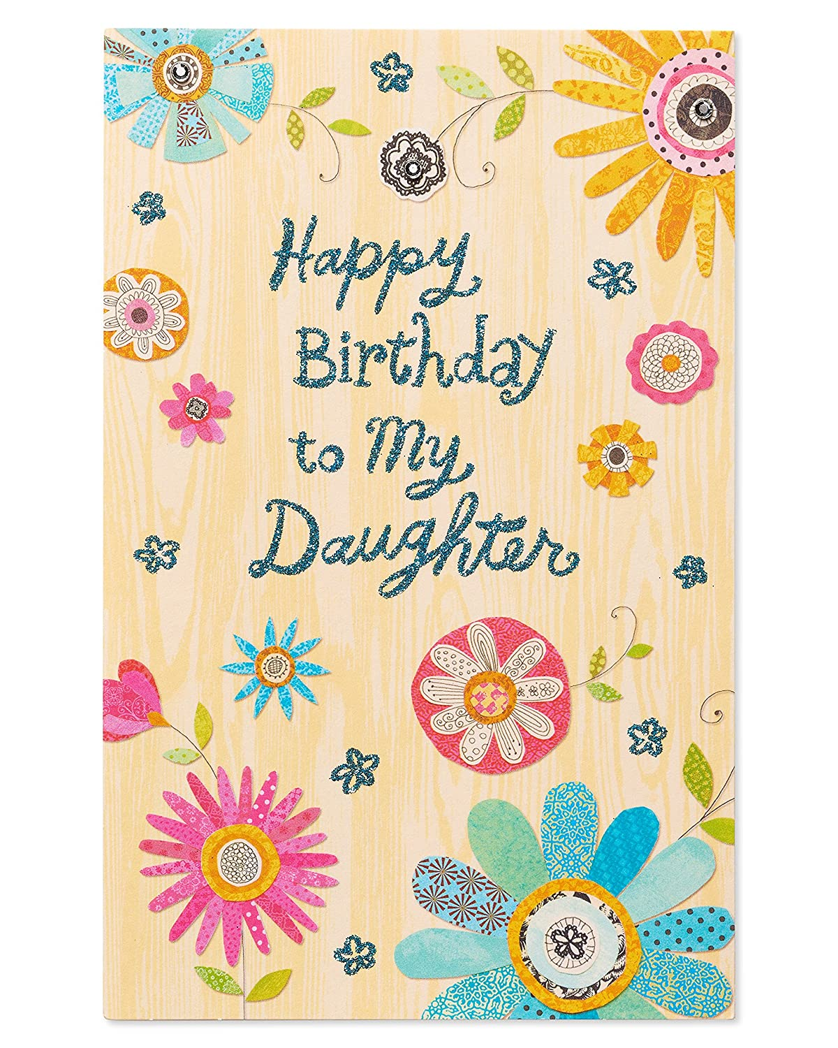 Amazon American Greetings Colorful Flowers Birthday Card For Daughter With Rhinestone Office Products