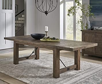 Amazon Com Benjara Wooden Dining Table With Bulky Plank Feet Brown Tables