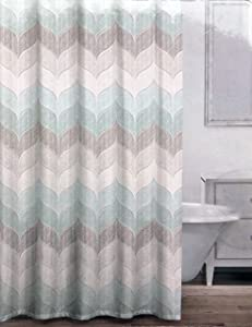 Caro Fabric Shower Curtain Rounded Geometric Chevron Pattern in Shades of Tan Gray Light Green - Charlotte Metallic, Soft Sky