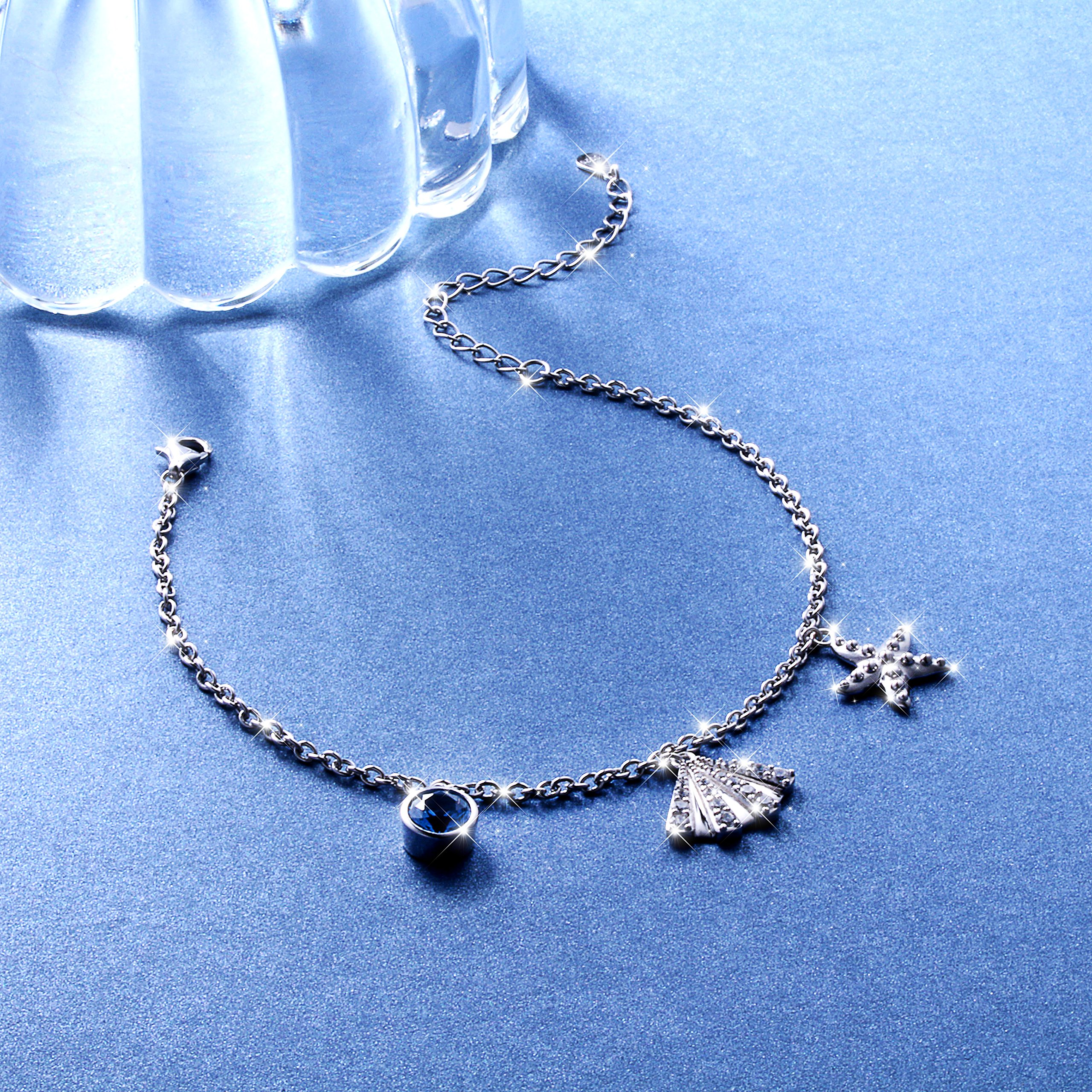 SILVER MOUNTAIN S925 Sterling Silver Starfish and Seashell Summer Adjustable Bracelet by SILVER MOUNTAIN (Image #3)