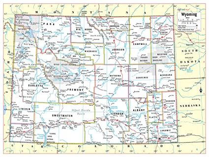 Cool Owl Maps Wyoming State Wall Map Poster Rolled 24