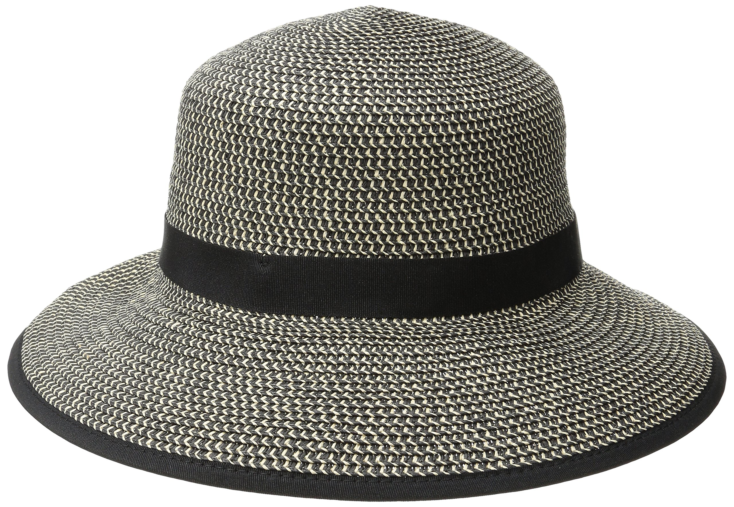 Physician Endorsed Women's Pitch Perfect Straw Sun Hat, Rated UPF 50+ for Max Sun Protection, Black Tweed, One Size