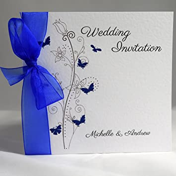 Butterfly Wedding Invitations Personalised with Ribbon Available