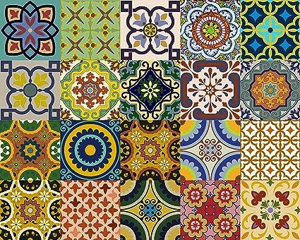 Amazoncom Backsplash Tile Stickers 24 PC Set Traditional Talavera