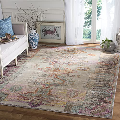 Safavieh Crystal Collection CRS517P Light Grey and Purple Distressed Bohemian Area Rug 8 x 10