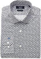 Original Penguin Mens Slim Fit Stretch Glasses Print Dress Shirt, Indigo