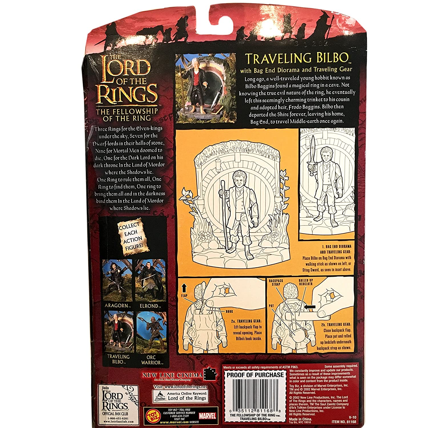 2003 TOY BIZ LORD OF THE RINGS THE TWO TOWERS WAVE 2 TRAVELING BILBO FIGURE HALF MOON PACKAGE SG/_B000VI3DJQ/_US