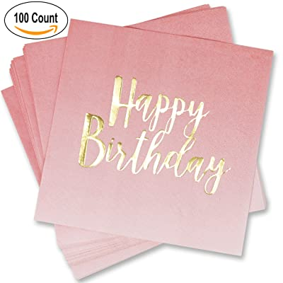 100 Count Happy Birthday Napkins 3 Ply Pink Ombre Luncheon Napkin with Metallic Gold Foil for Dinner Celebration Party Favor Supplies Decorations by Gift Boutique