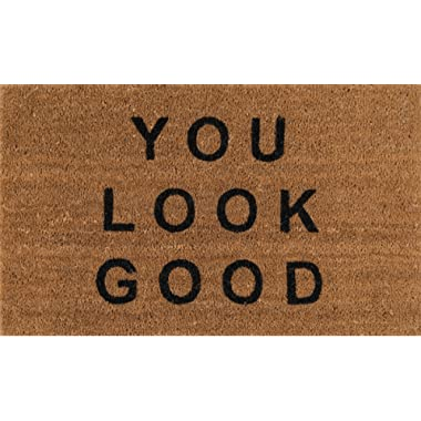 Novogratz Aloha Collection You Look Good Doormat, 1'6  x 2'6 , Natural Brown