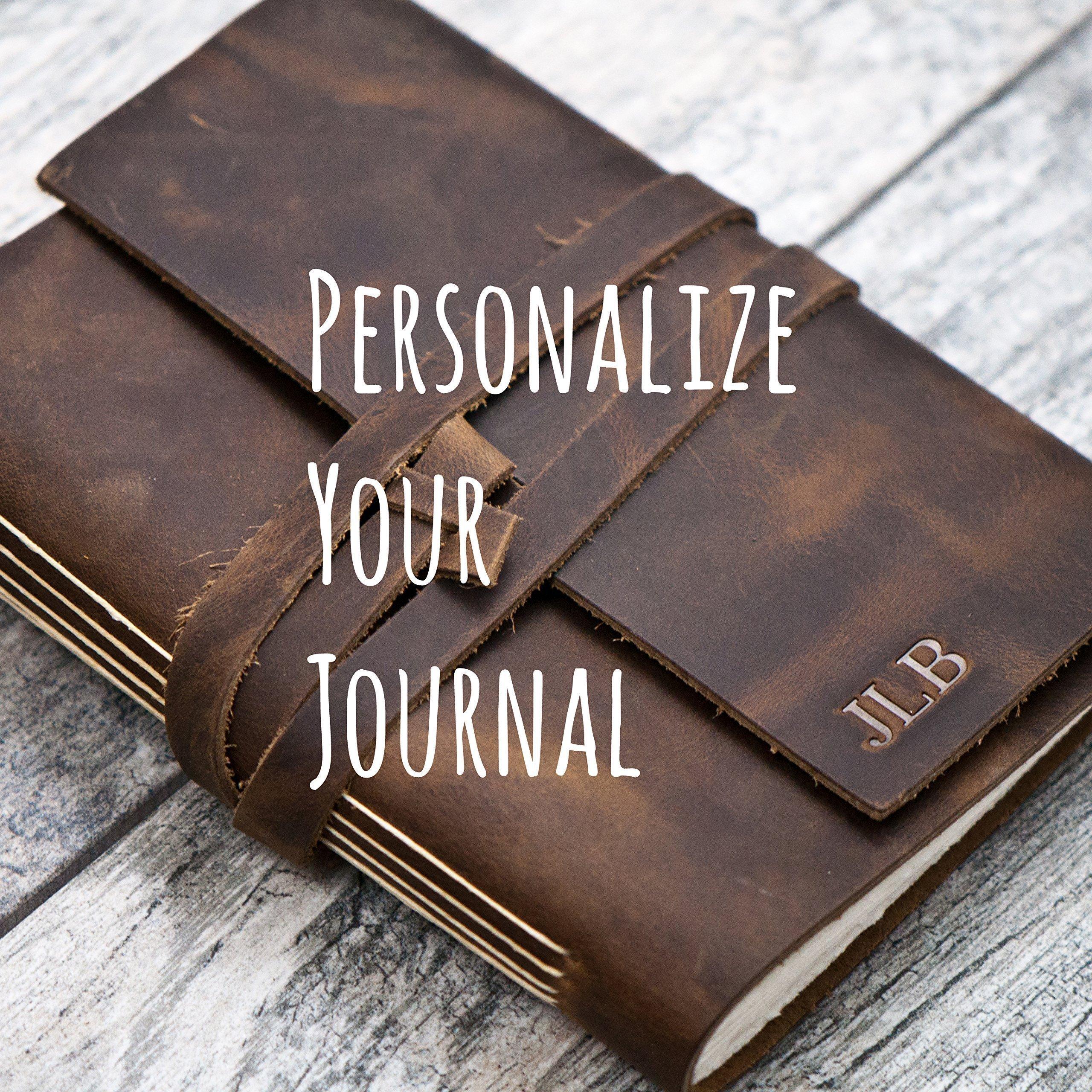 Personalized Leather Journal Notebook or Sketchbook | Rustic Brown, Saddle Tan, Dark Brown