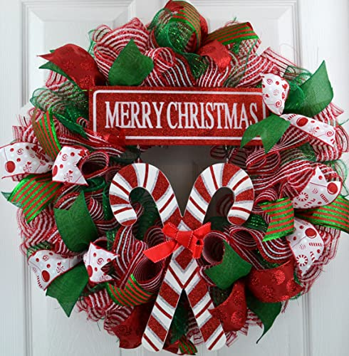 candy cane wreath merry christmas wreath peppermint stripe mesh front door wreath red