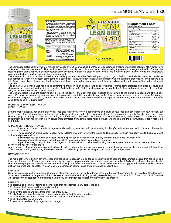 Amazon.com: The Lemon Lean Diet - Maximum Potency 1500 mg I All ...