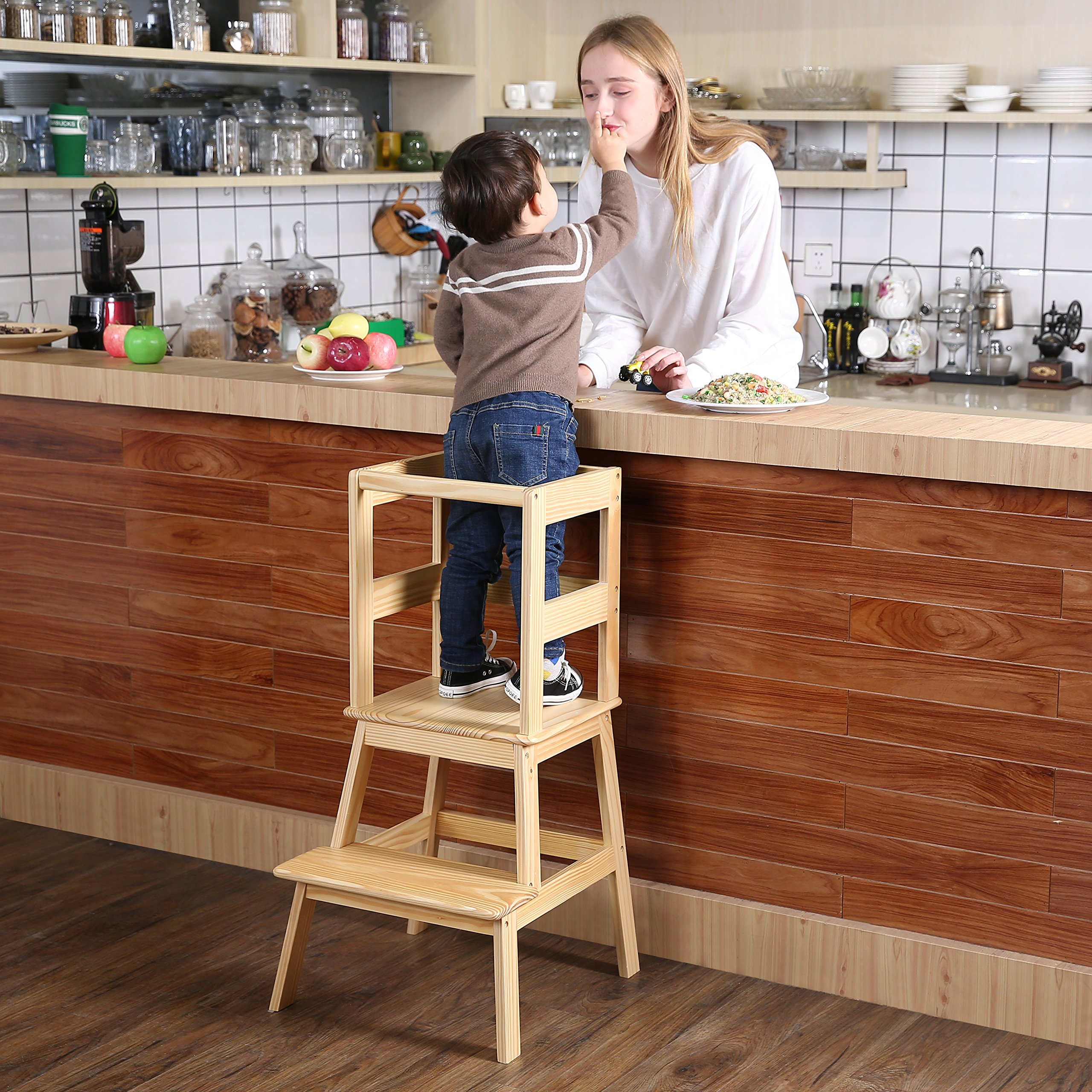 Kids Kitchen Helper Kitchen Step Stool With Safety Rail   For Toddlers 18  Months And Older