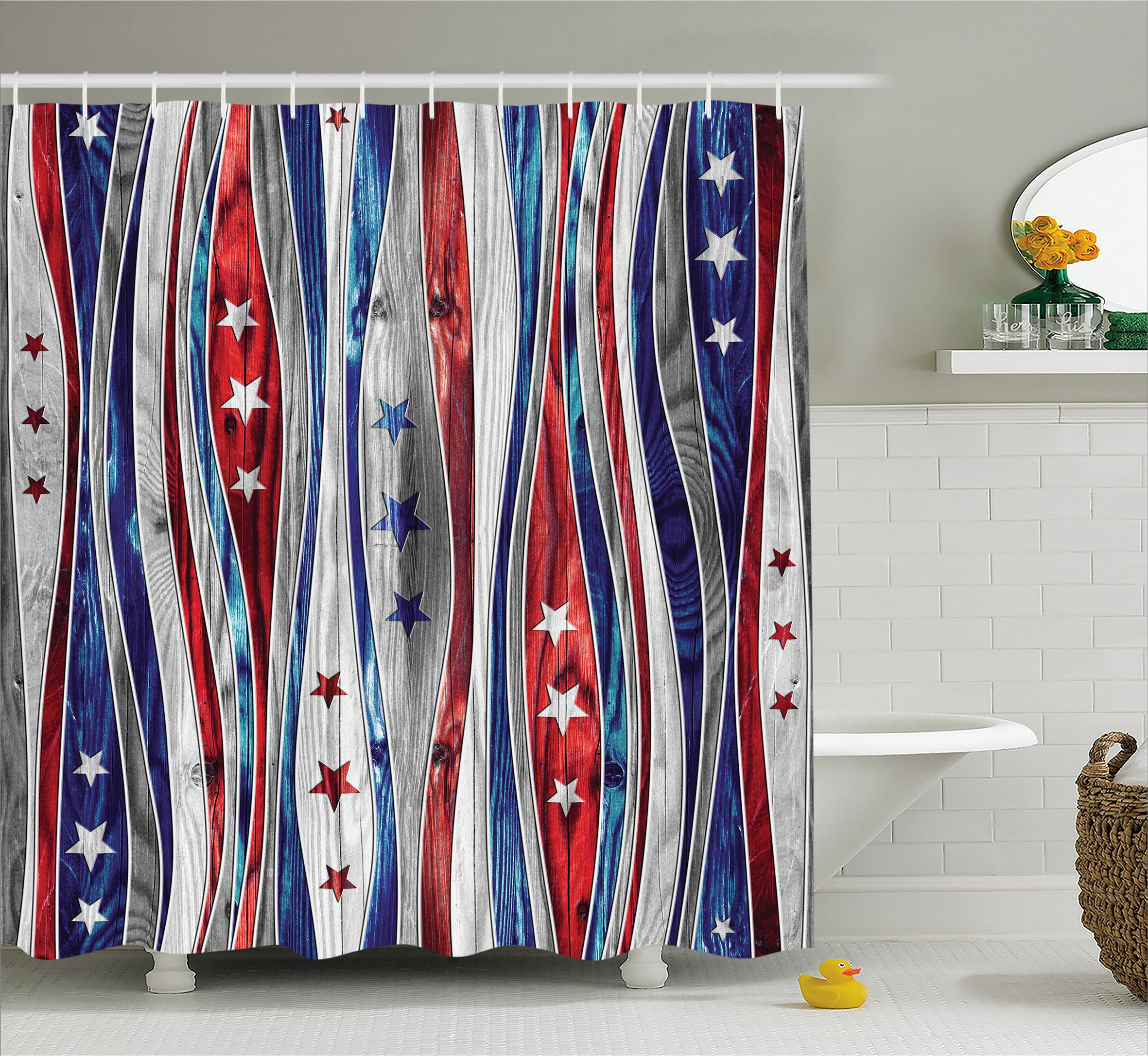 Rustic Home Decor Shower Curtain by Ambesonne, Digital American Flag Colored Wood Stripes with Ornate Star Figures Image, Fabric Bathroom Decor Set with Hooks, 75 Inches Long, Red Blue