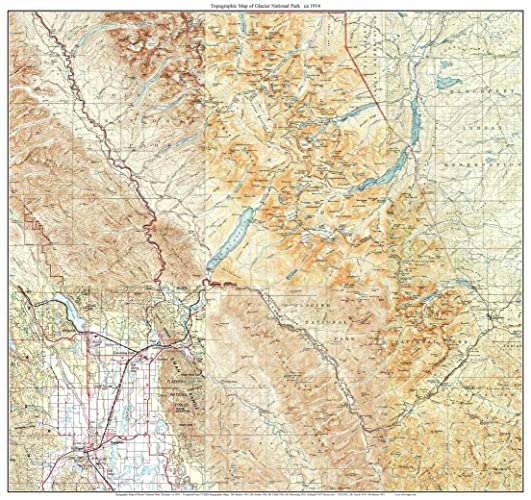 Amazon.com: Glacier National Park 1914 Old Topographical Map USGS ...