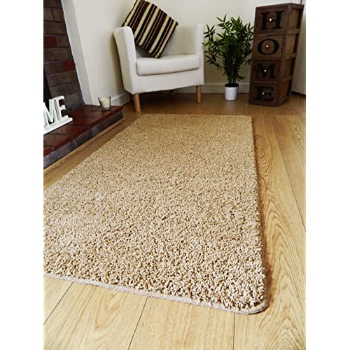 NEW BISCUIT GOLD SHAGGY MATS MACHINE WASHABLE NON SLIP LARGE SMALL BEDROOM  RUGS (66 X