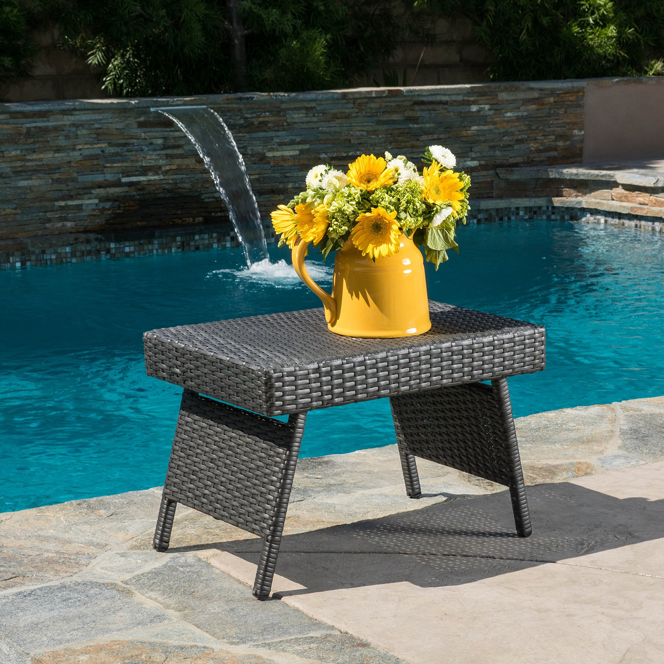 Outdoor Folding Table Wicker Dining Home Patio Weather Resistant