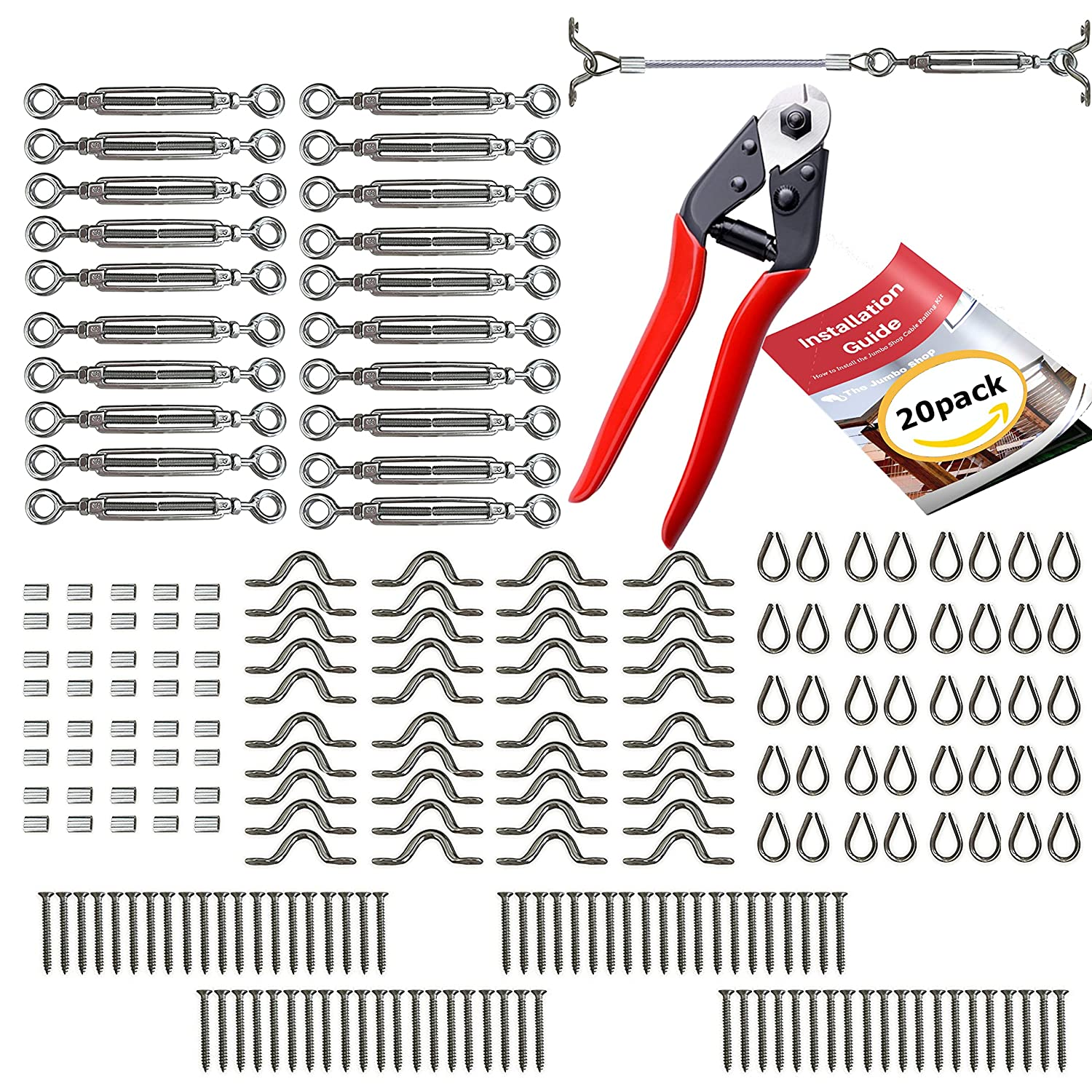 Cable Railing Kit - 20 Pack + CABLE CUTTER - Heavy Duty Stainless ...