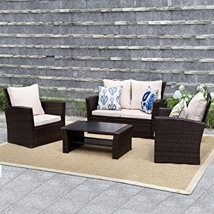 Superb Wisteria Lane Outdoor Patio Furniture Set 5 Piece Conversation Set Wicker Sectional Sofa Couch Rattan Chair Table Brown Home Interior And Landscaping Ponolsignezvosmurscom