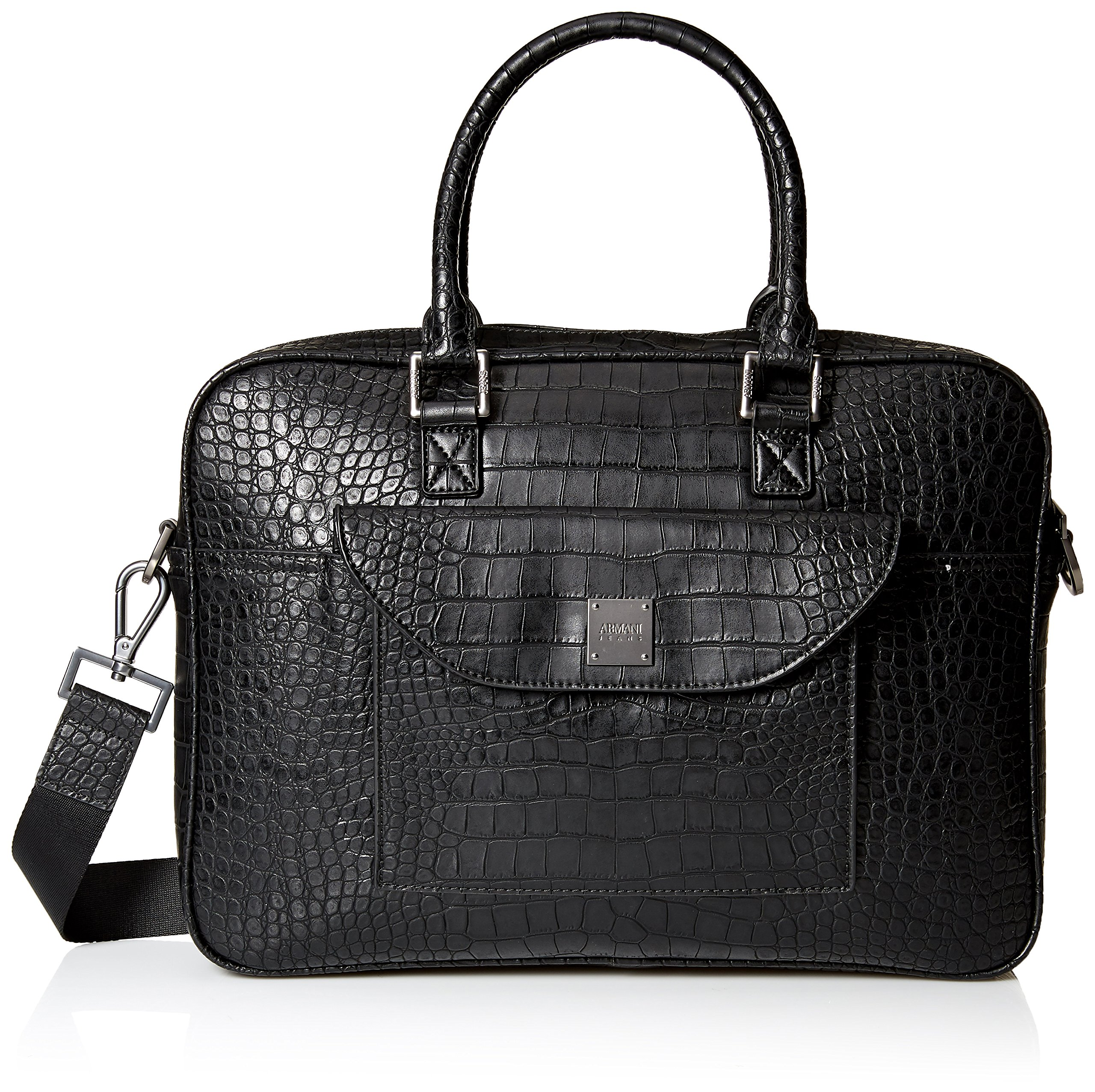Armani Jeans Men's Croco Embossed Briefcase with Laptop Compartment by ARMANI JEANS