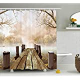 Ambesonne Shower Curtain Collection by, Ocean Decor Fall Wooden Bridge Seasons Lake House Nature Country Rustic Home Art Paintings Pictures for Bathroom Seascape Decorations, Brown Beige Khaki Yellow