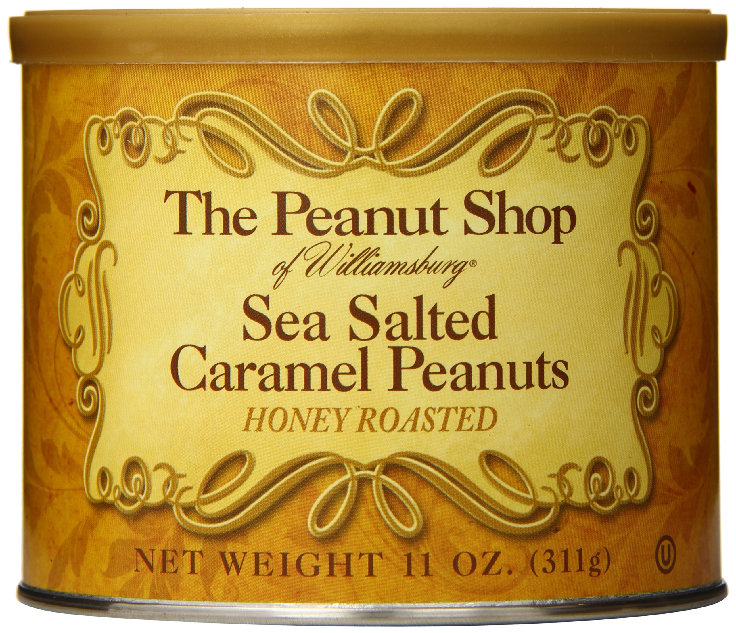 The Peanut Shop of Williamsburg Honey Roasted Peanut Tin, Sea Salt Caramel, 11 Ounce