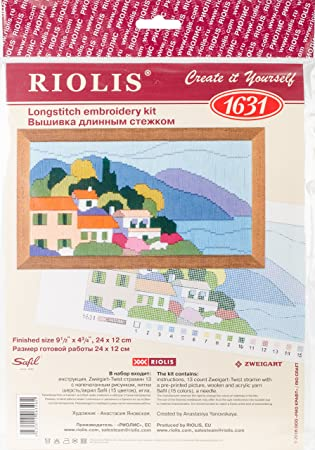 "RIOLIS Stamped Cross Stitch Kit 9.5/""X4.75/""-Town In The Mountains 13 Count"