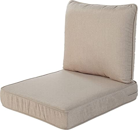 Amazon Com Quality Outdoor Living 29 Bg02sb All Weather Deep Seating Chair Cushion 23 X 26 Beige Garden Outdoor