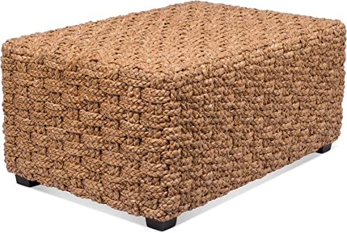 BIRDROCK HOME Checkered Weave Seagrass Coffee Table – Hand Woven – Rectangle – Living Room Decor – Fully Assembled