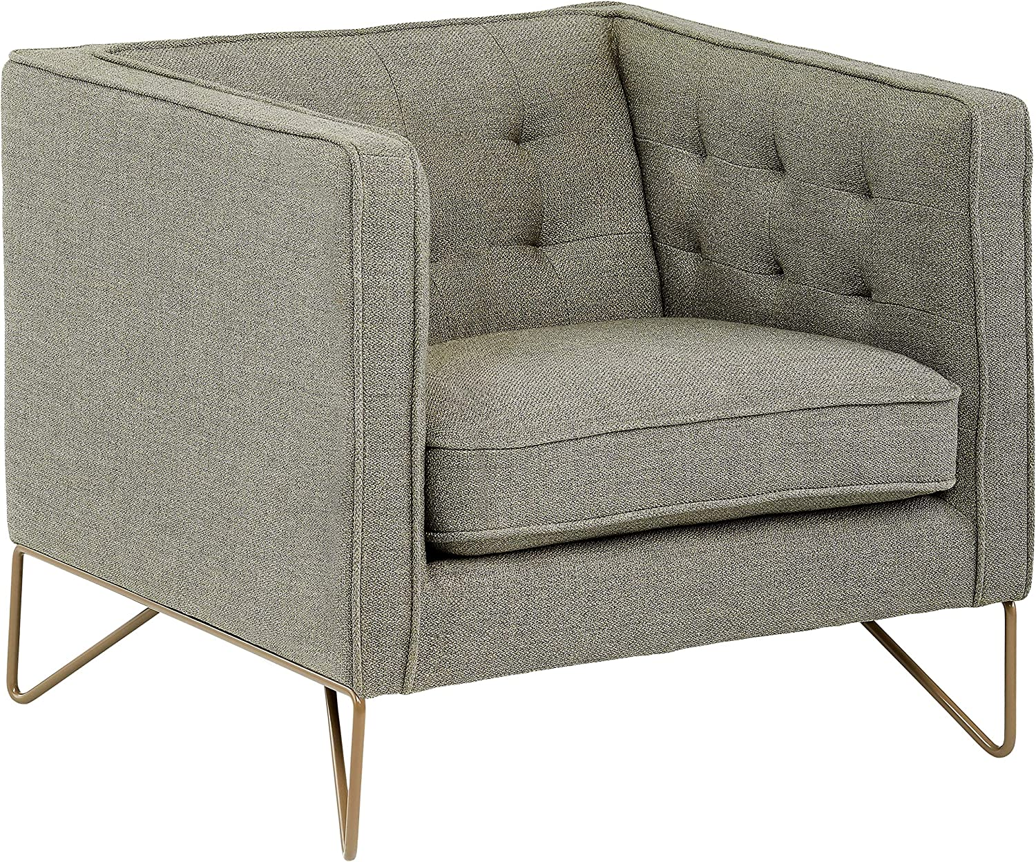 "Rivet Brooke Contemporary Modern Tufted Living Room Accent Chair, 35""W, Gray"