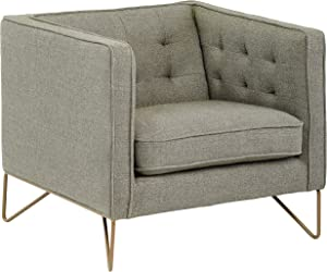 """Rivet Brooke Contemporary Modern Tufted Living Room Accent Chair, 35""""W, Gray"""