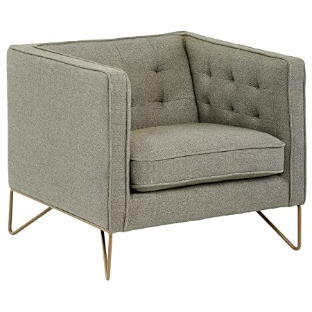 Rivet Brooke Contemporary Modern Tufted Living Room Accent Chair, 35 W, Gray
