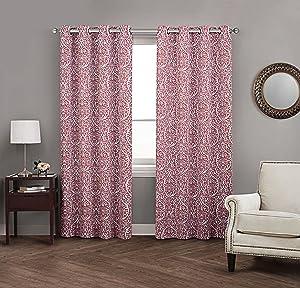 Avondale Manor Damask Panel Pair Curtains, Red