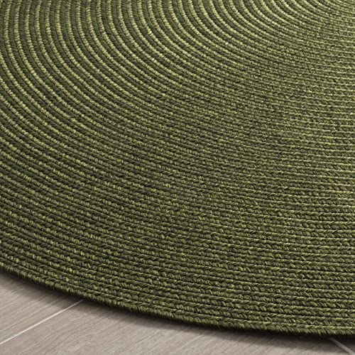Safavieh Braided Collection BRD315A Hand-woven Reversible Area Rug, 8 Round, Green