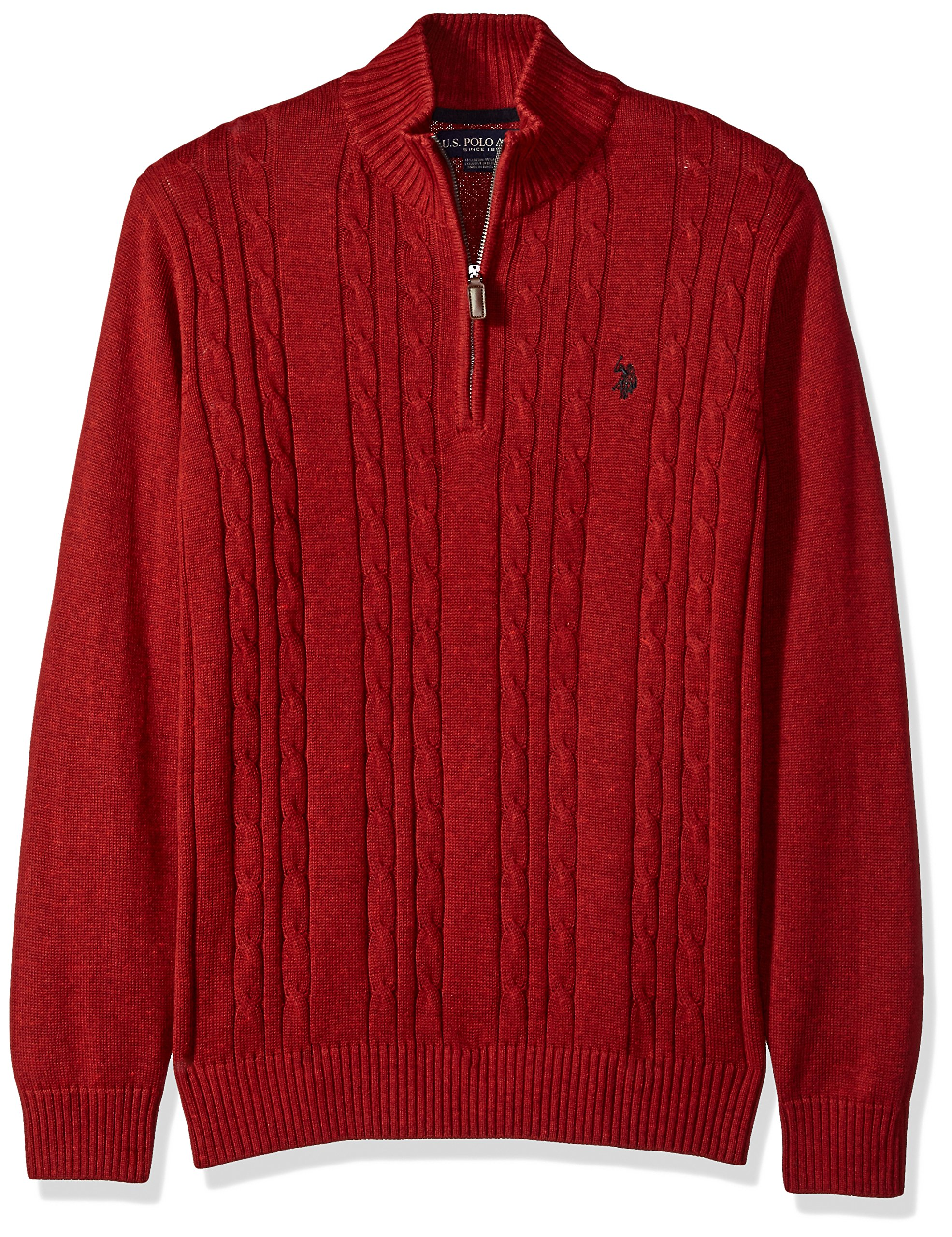 U.S. Polo Assn. Men's Cable Knit 1/4 Zip Sweater, Strawberry Heather, X-Large by U.S. Polo Assn.
