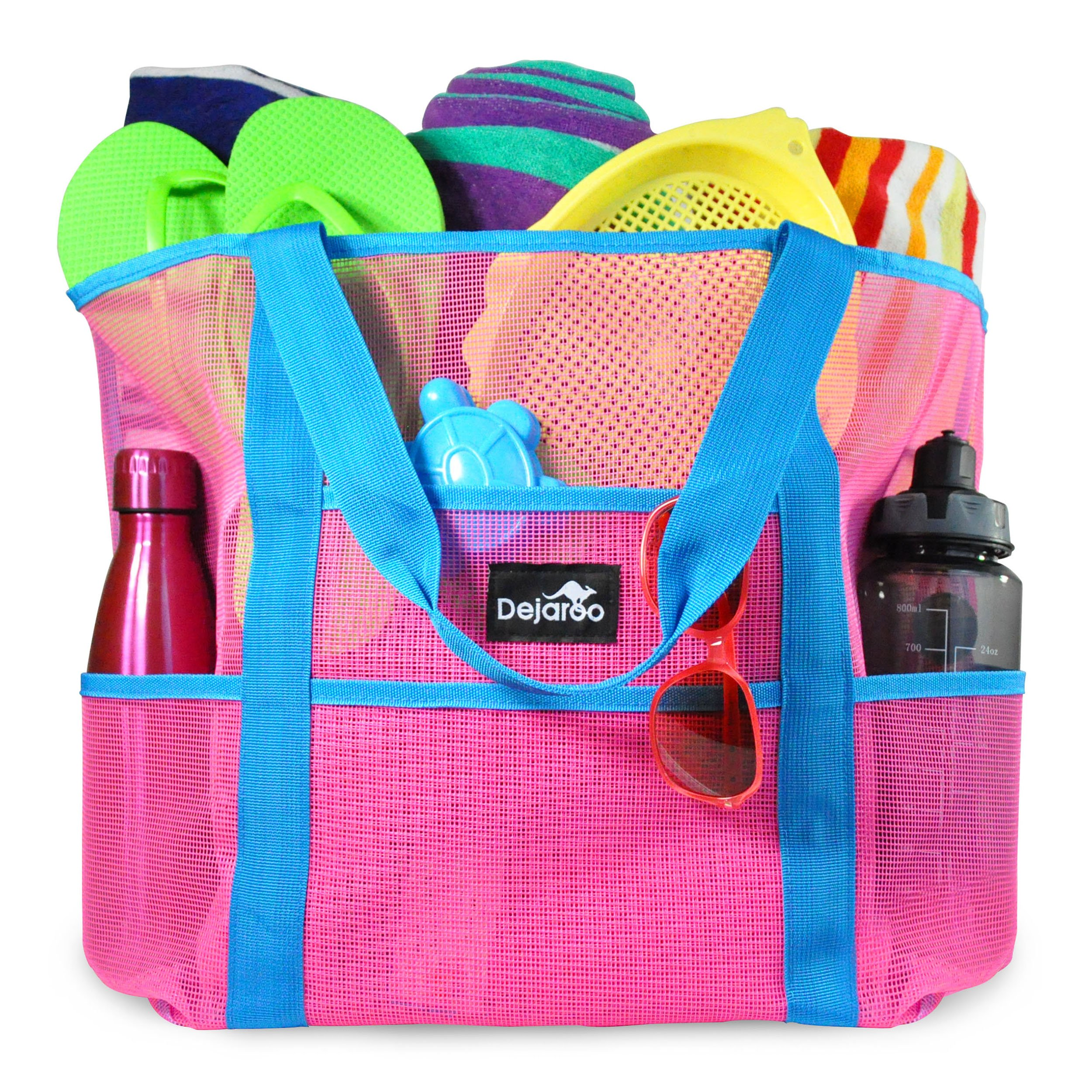 Dejaroo Mesh Beach Bag – Toy Tote Bag – Large Lightweight Market, Grocery & Picnic Tote with Oversized Pockets (Pink with Aqua Handles)