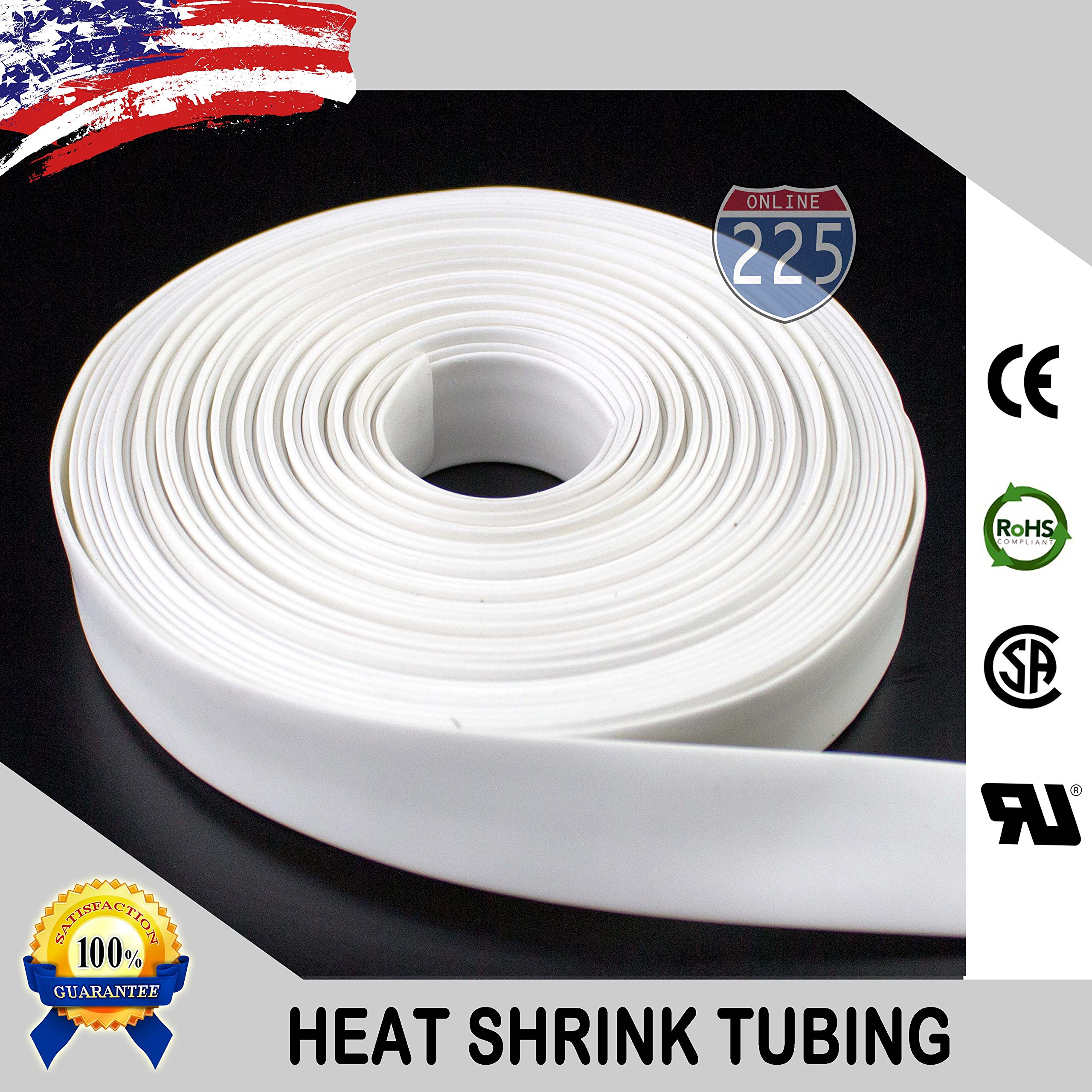 100 FT 1'' 25mm Polyolefin White Heat Shrink Tubing 2:1 Ratio