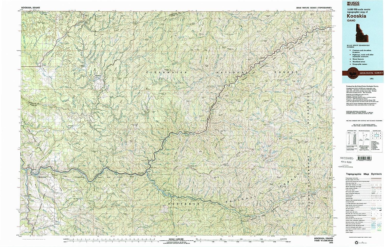 Amazon Com Yellowmaps Kooskia Id Topo Map 1 100000 Scale 30 X 60