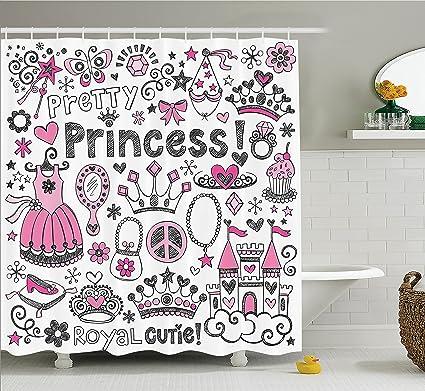 Ambesonne Teen Girls Decor Shower Curtain Set Fairy Tale Princess Tiara Crown Notebook Doodle Design