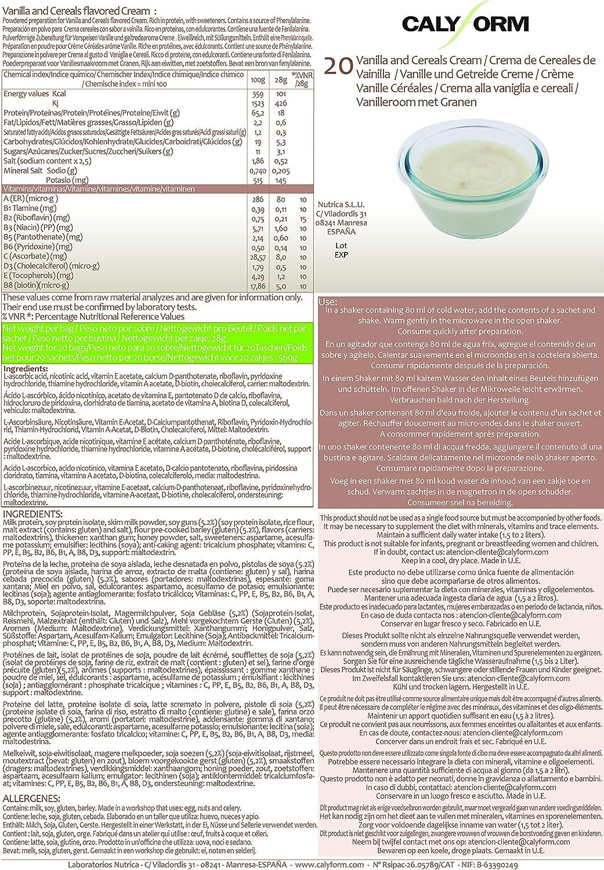 CALYFORM Crema Proteica para dieta sabor Cereales y Vainilla saciante | Proteína en polvo para dieta proteica de calidad y aporte en aminoácidos ...