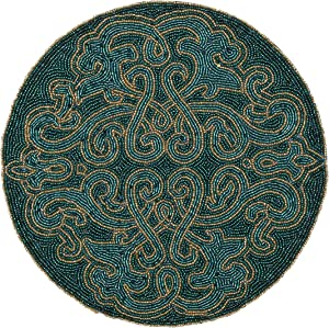 Bedding Craft Round Beaded Placemats Teal Gold Silver 13 Inch Round,Placemats for Dining Table,Beaded Placemats, Beaded Charger Placemats,Holiday & Christmas Beaded Placemats,Beaded Glitz Charger