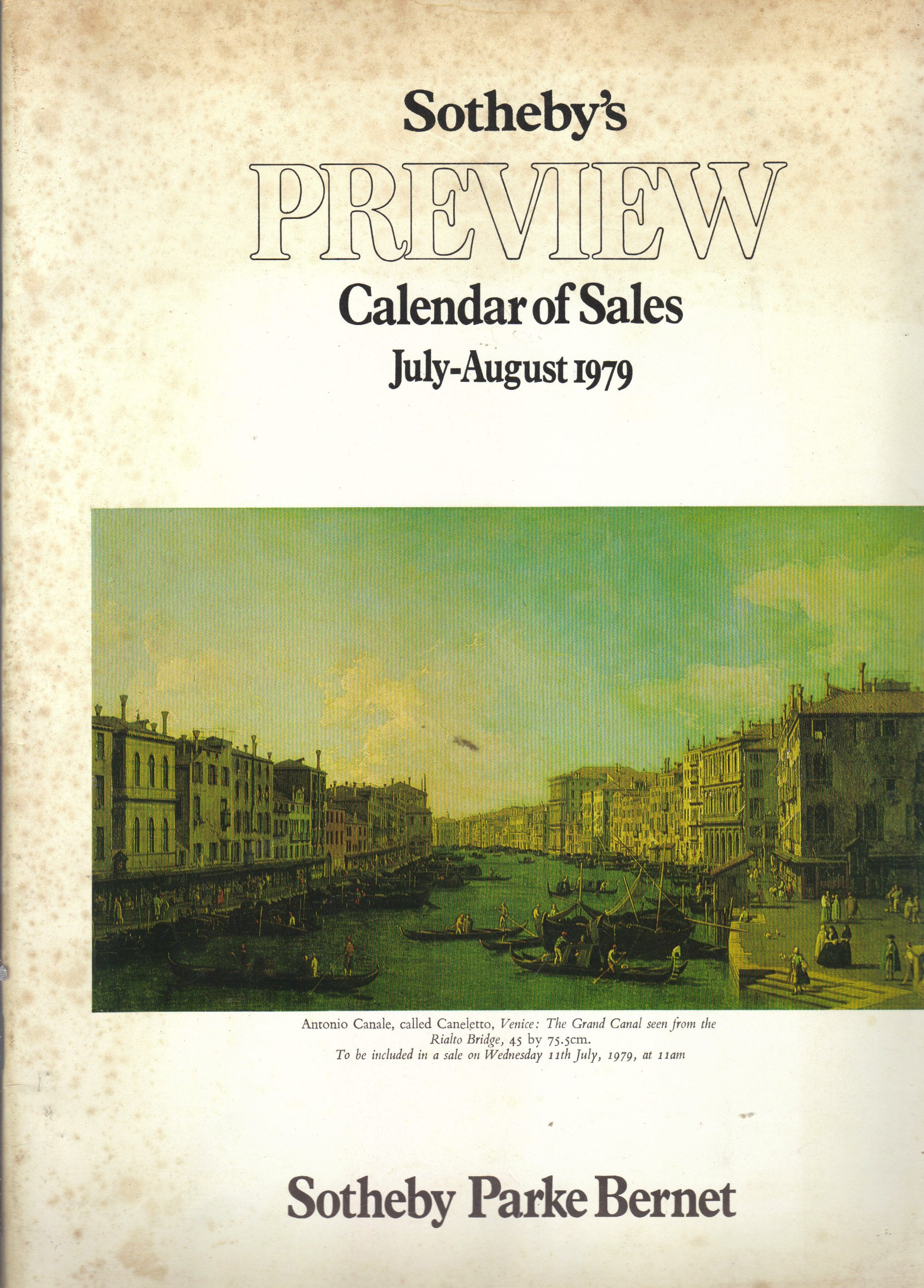 1979 Calendar August.Sotheby S Preview Calendar Of Sales July August 1979 Southeby Parke