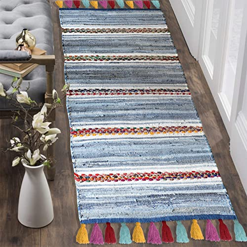 The Home Talk Contemporary Bohemian Indoor Denim Rag Area Rug, Hand Washable, Handmade from Recycled Fabrics and Tassels, Unique for Bedroom, Living Room, Kitchen, Nursery 2 x5 , Denim Rag